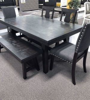 ESPRESSO DINING TABLE WITH CHAIRS AND BENCH for Sale in West Covina, CA