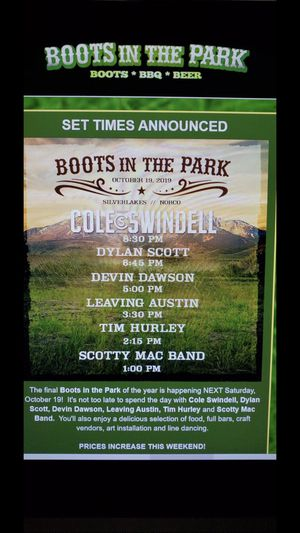 Boots in the Park country concert for Sale in Culver City, CA