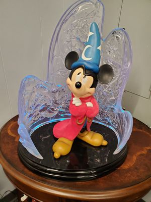 Mickey Sorcerer Big Figurine with light up Back ground for Sale in Orlando, FL