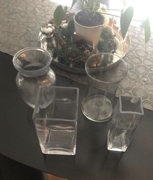 """(4) Glass 8"""" Tall Vases for Sale in Commerce Charter Township, MI"""