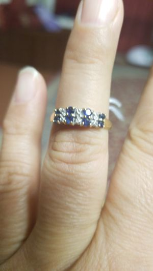 DIAMOND WITH SAPPHIRE RING VERY PRETTY for Sale in Springfield, VA