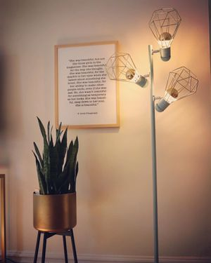 Matte Blue and Gold Floor Lamp for Sale in Edgewater, NJ