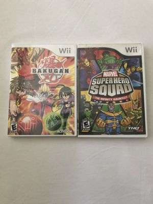Nintendo Wii Games:Bakugan Battle Brawlers Disc Like New & Marvel Super Hero Squad The Infinity Gauntlet Disc Like New With Booklets Both For $15 for Sale in Reedley, CA