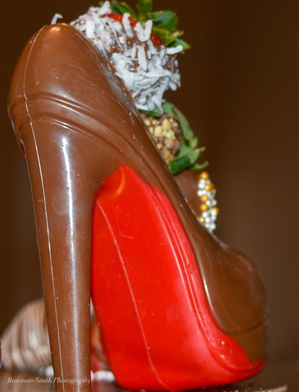 Chocolate shoe with strawberries for valentines