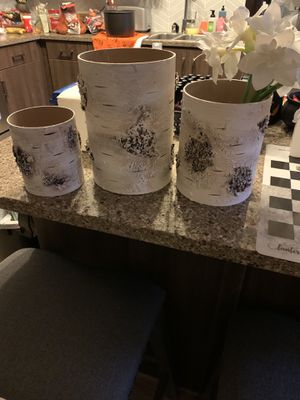 Pier 1 - vases or candle holders & faux white flowers all three included for Sale in Woodland Hills, CA