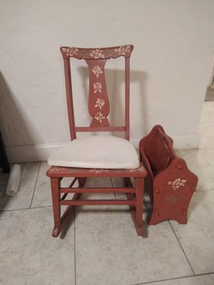 Antique rocking chair with matching newspaper holder for Sale in Sarasota, FL