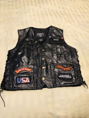 Leather motorcycle vest with patches size medium for Sale in Miami, FL