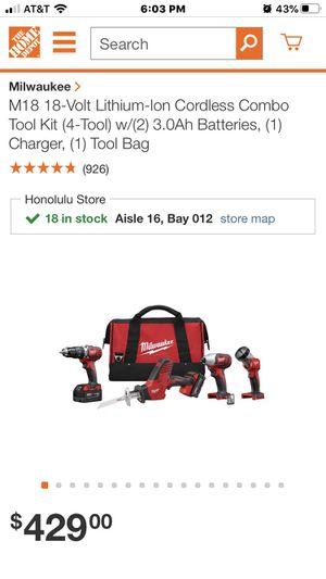 New 4 piece 18 volt Milwaukee set for Sale in Honolulu, HI