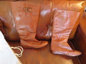 Aldo brown leather slip on wedge tall boots, size 10 for Sale in Denver, CO