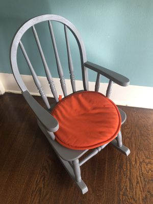Kids gray painted wooden rocking chair for Sale in Seattle, WA