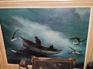 Original signed oil painting 1950s 1960s stormy sea for Sale in Los Angeles, CA