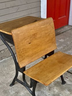 Vintage School Desk with Cast Iron Legs for Sale in Long Beach,  CA