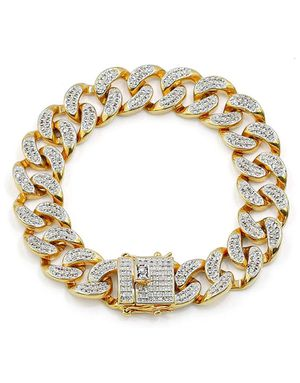 14mm 18k Gold Plated All Iced Out Stimulated Cuban Bracelet for Sale in Brooklyn, NY