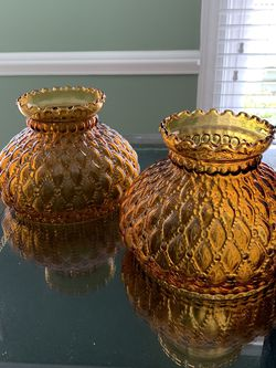 Vintage Fenton Amber Glass Lamp Shades (2) for Sale in Burke,  VA