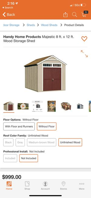Handy Home Products Majestic 8 ft. x 12 ft. Wood Storage Shed (firm price) for Sale in Phoenix, AZ