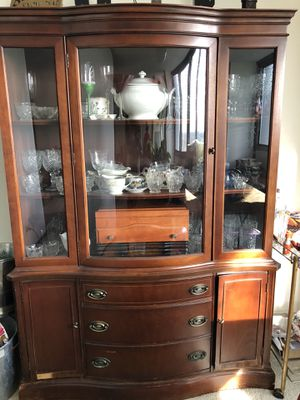 Antique Walnut China Cabinet for Sale in Chicago, IL