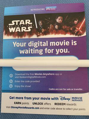 Star Wars - The Last Jedi 4K digital code for Sale in Rosemead, CA