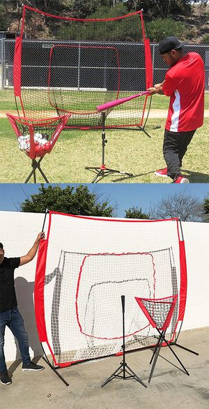 (NEW) $90 Baseball Practice (3pc Set) includes the 7'x'7 Net Bow Frame, Ball Tee and Caddy Bag for Sale in El Monte, CA