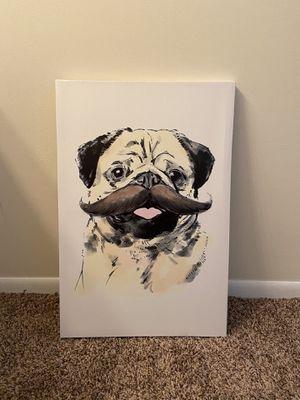 Pug Mustache Canvas Wall Decor for Sale in Fairfax, VA