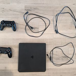 PS4 Slim + 2 Controllers for Sale in Scottsdale, AZ