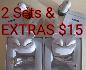 2 SETS with EXTRAS Brand New WHITE Similar to Airpods for Any Smartphone with Samsung Apple iPhone Android Compatible for Sale in Santa Ana, CA