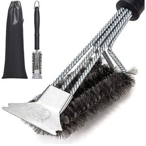 Grill Brush with Nylon Bag and Attached Scraper, 18 Inches Sturdy Handle and Long Lasting BBQ Brush with Triple Power Stainless Steel Bristles(New) for Sale in Corona, CA