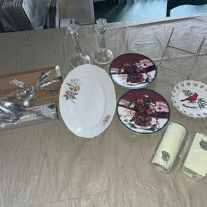 Holiday glass plates silverware toothbrush candle holder bundle deal for Sale in Rochester Hills, MI