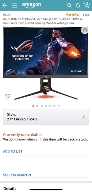 "ASUS ROG Swift PG27VQ 27"" WQHD Curved G-SYNC Gaming Monitor 165Hz 1440p 1ms with Eye Care Aura Sync DisplayPort HDMI USB for Sale in Lynwood, CA"