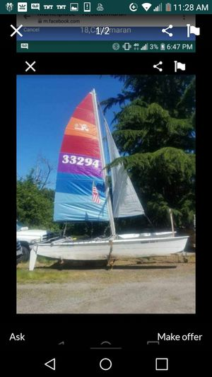 18' catamaran ready to sail with trailer? Good title trailer is tabed for Sale in Tacoma, WA