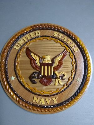 Hand Carved Navy Plaque for Sale in Hermon, ME