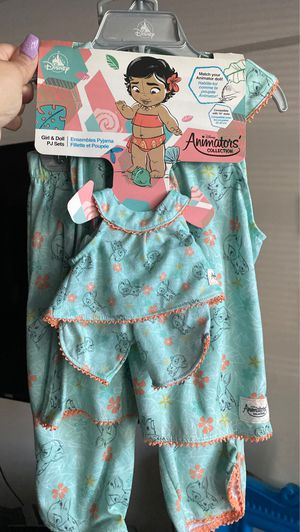 Disney Animators' Collection Moana Matching Pajama Set for Kids and Doll for Sale in Skokie, IL