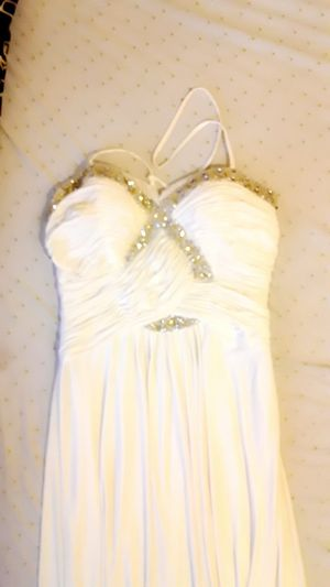 White dress with pretty crystals for Sale in Elizabeth, NJ