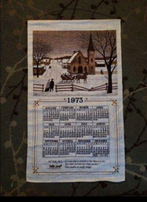 Vintage 1973 Winter Scene Clothe Calendar for Sale in Hazleton, PA