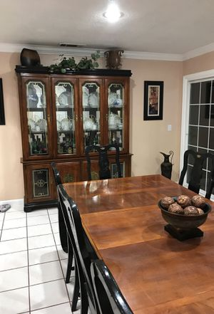 China cabinet and dining table with eight chairs for Sale in Union City, CA
