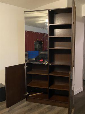 Mirror Walk in closet organizer Oak wood shelves for Sale in Fort Lauderdale, FL
