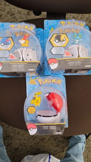 Tomy Pokemon Yellow Pikachu/Frankie & Fennekin Red/White Repeat Ball Brand toy for Sale in San Jose, CA