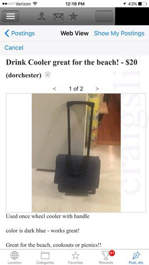 Roller cooler for beach picnics sports for Sale in Boston, MA