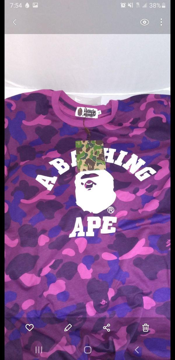 A bathing ape XL purple blue camo t shirt