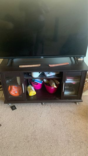 Beautiful dark brown wooden tv stand for Sale in Tempe, AZ