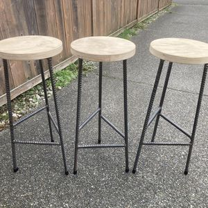 Bar Stool Set Of 3 - Industrial / Rustic / Farmhouse for Sale in Covington, WA