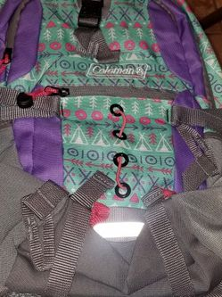 Coleman Kid's Hiking Backpack w/Hydration Compartment & Bladder Gray/Purple/Teal/Teepees for Sale in Las Vegas,  NV