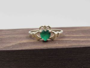 Size 9.75 Sterling Silver Chrysoprase Claddagh Band Ring Vintage Statement Engagement Wedding Promise Anniversary Bridal Cocktail Friendship for Sale in Lynnwood, WA