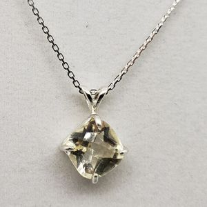 Natural 10x10mm Square Lemon Topaz Silver Necklace for Sale in Justin, TX