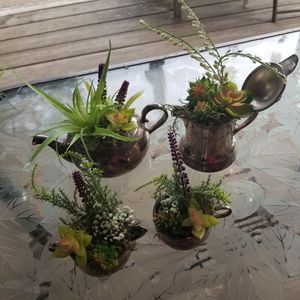 beautiful antique silver plated tea set succulent decor for Sale in Brook Park, OH