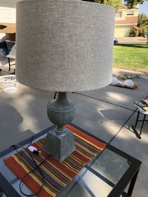 Lamp with gray/blue base and burlap shape for Sale in Modesto, CA