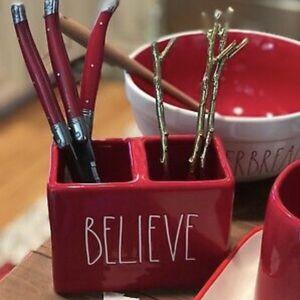 Rae Dunn Christmas Red BELIEVE Holder for Sale in San Bernardino, CA