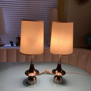 Vintage Mid Century Modern Atomic Table Lamps Pair With Lampshades for Sale in Rancho Cucamonga, CA