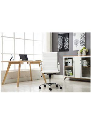 Leather white office chair with armrest holiday discount for Sale in Brea, CA