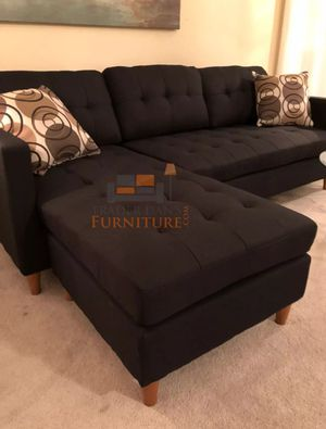 Brand New Black Linen Sectional Sofa Couch (3 Color Options) for Sale in Silver Spring, MD