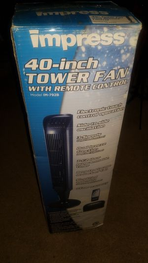 Impress 40-inches Tower fan with remote for Sale in Hackensack, NJ